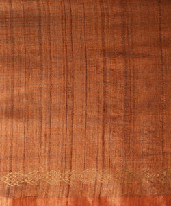 MACHLI (FISH) Tussar Silk Sari - Russet Brown