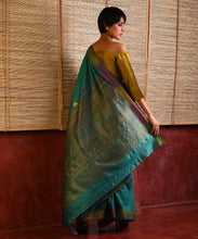Load image into Gallery viewer, IKAT Tussar Satrang Silk Sari - Turquoise