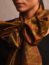 Load image into Gallery viewer, IKAT Zig Zag Silk Stole - brown Green
