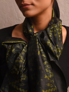 IKAT Zig Zag Silk Stole - Black Yellow