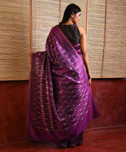 Load image into Gallery viewer, IKAT Tussar Badal Silk Sari - Voilet