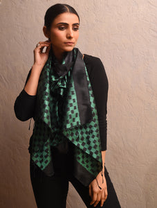 IKAT  Silk Handwoven Stole Black Sea Green