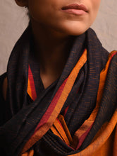 Load image into Gallery viewer, BINDU Silk Cotton Handwoven ikat Stole - Black Rust