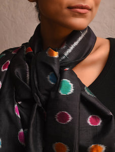 POLKA DOT Ikat Silk Stole - Black Multi Color