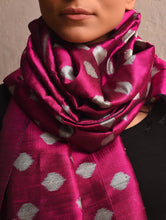 Load image into Gallery viewer, POLKA DOT Ikat Silk Stole - Rani Pink