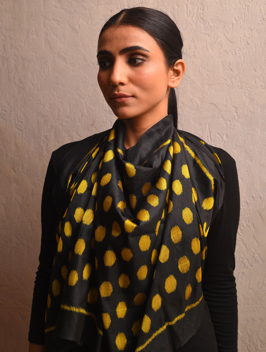 POLKA DOT Ikat Silk Stole - Black Yellow