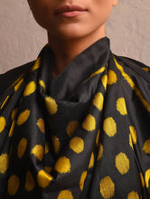 Load image into Gallery viewer, POLKA DOT Ikat Silk Stole - Black Yellow