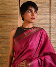 Load image into Gallery viewer, BOMKAI Tussar Silk Sari - Magenta