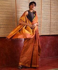 KUMBHA Tussar Silk Sari -  Golden Orange