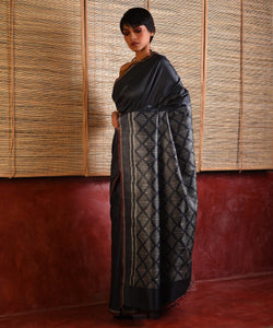 IKAT Tussar Silk Sari - Smoke Grey