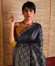 Load image into Gallery viewer, IKAT Tussar Silk Sari - Smoke Grey
