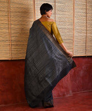 Load image into Gallery viewer, IKAT Tussar Silk Sari - Steel Grey