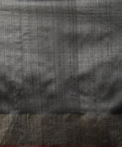 IKAT Tussar Silk Sari - Steel Grey