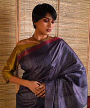 Load image into Gallery viewer, DHAAN Tussar Silk Sari - Space Blue