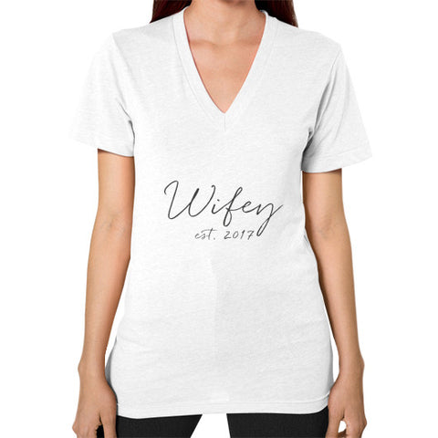 "Perfect ""Wifey""  V-Neck - Est 2017 - Gray"