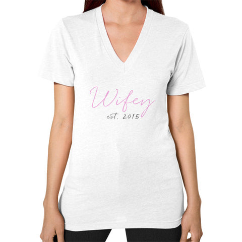 "Perfect ""Wifey"" V-Neck - Est 2015 - Colored"