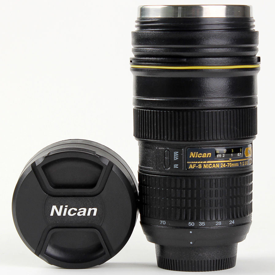 BLACK FRIDAY SPECIAL: Nikon-Style 24-70 mm Camera Lens Mug Stainless Steel Coffee Cup