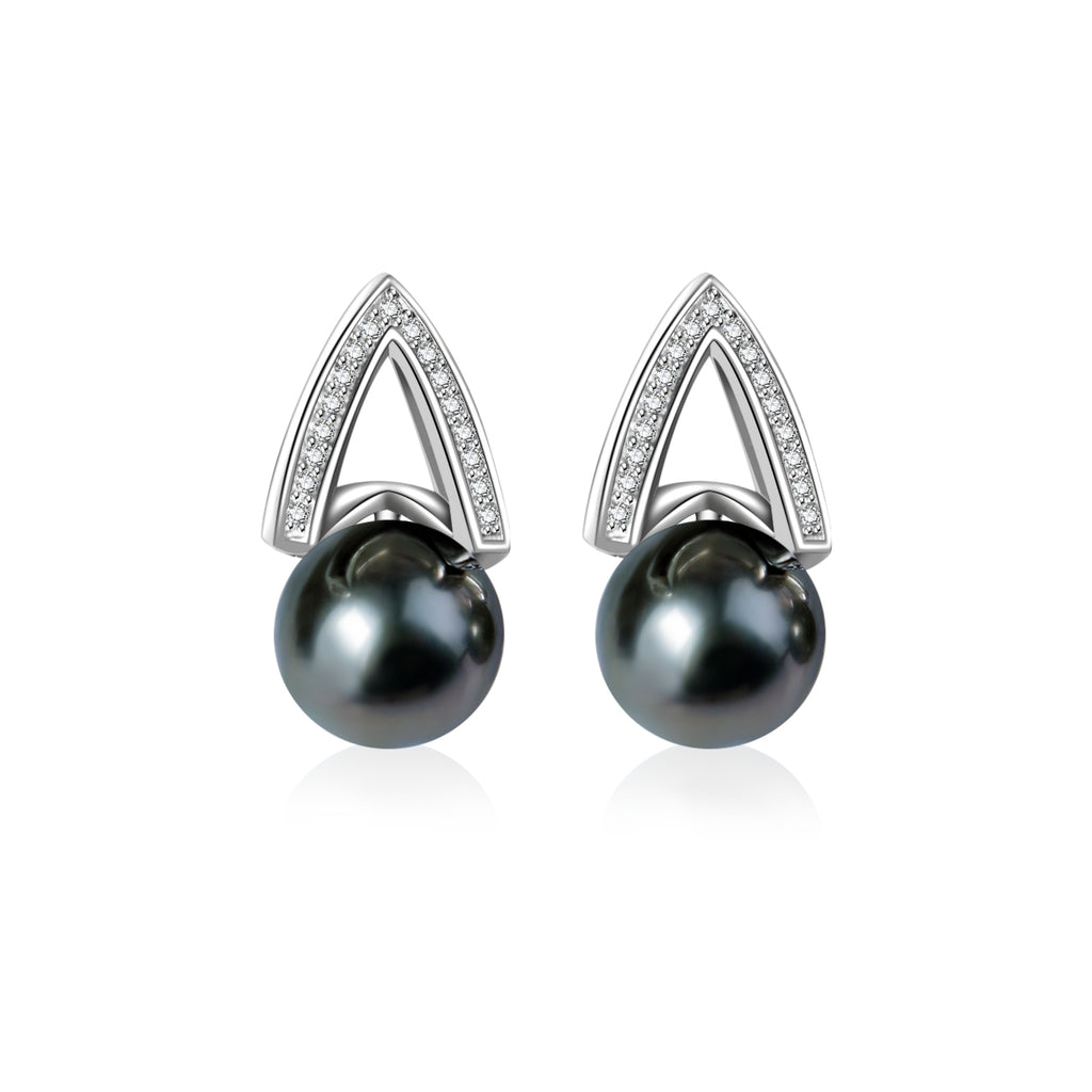 Pearly Lustre Elegant Saltwater Pearl Earrings WE00039 Product Image with Model