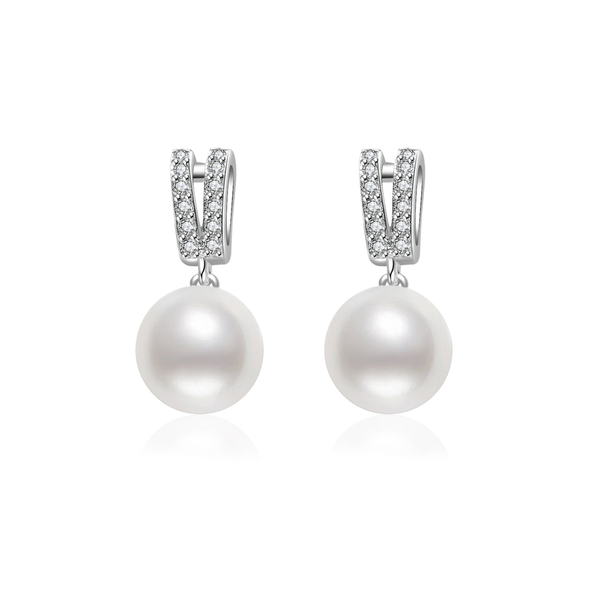 Pearly Lustre Elegant Freshwater Pearl Earrings WE00061 Product Image with Model