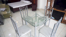 Load and play video in Gallery viewer, 4 chair steel glass  dinning table