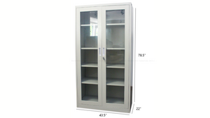 Steel cupboard with glass