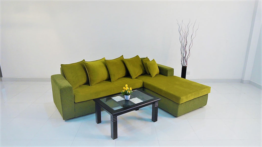 Sectional L sofa in Velvet
