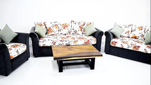 Floral Sofa With Teak Base