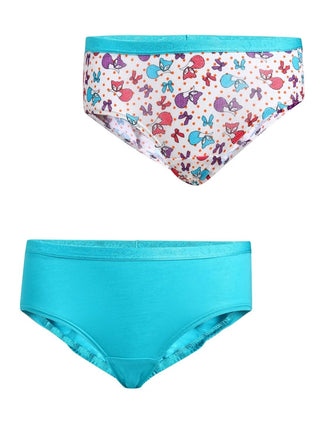 Jockey Jet Teal & Assorted Print Girls Panty Pack Of 2