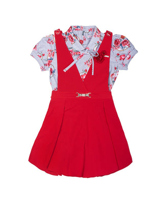 Girls Dungree Suit Red