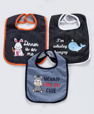 Denim Bibs Animal Print Pack of 3