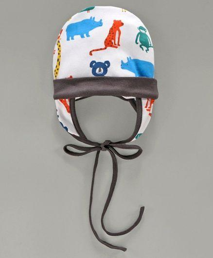 Tie Knot Cap with Ear Flaps Animal Print White