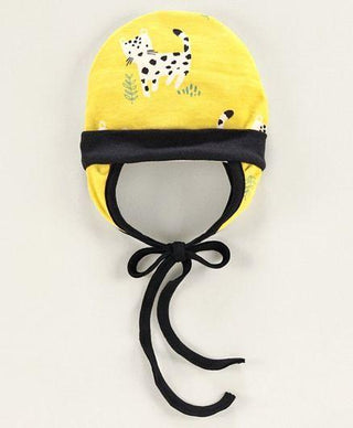 Tie Knot Cap with Ear Flaps Animal Print Yellow