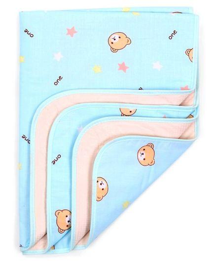 Diaper Changing Mat Star Print - Light Blue