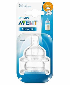 Avent Anti-Colic 4 Holes Silicone Teat Fast Flow - Set Of 2