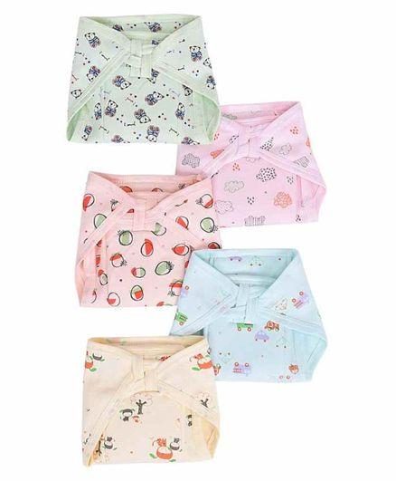 Cotton Cloth Nappies Multi Print Pack of 5 - Multicolor
