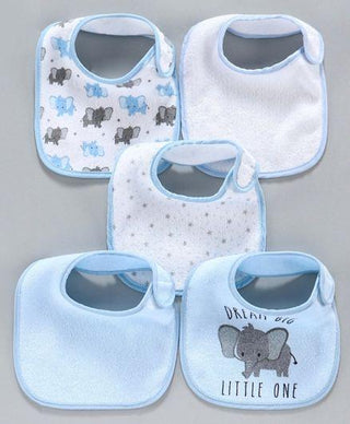 Terry Printed Bibs Pack of 5