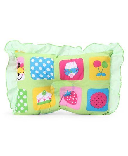 Frilled Rectangular Pillow Strawberry Print