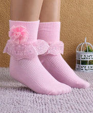 Load image into Gallery viewer, Fashionable Frill Socks In Pink For Girls