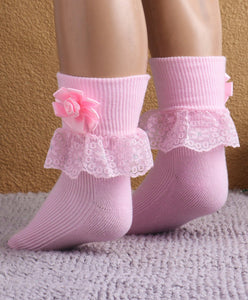 Fashionable Frill Socks In Pink For Girls