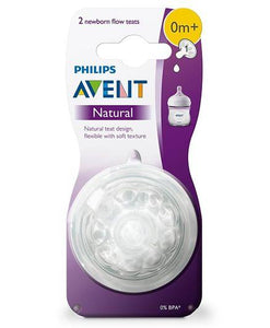 Avent Natural Teat 1 Hole Newborn - Pack Of 2