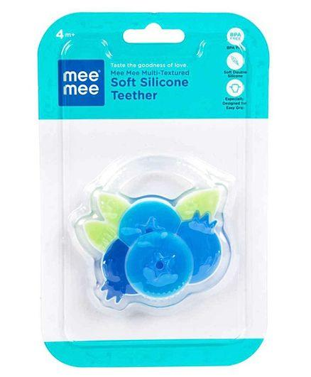 Mee Mee Multi Textured Soft Silicone Teether Fruit Shaped - Blue - Pintoo Garments