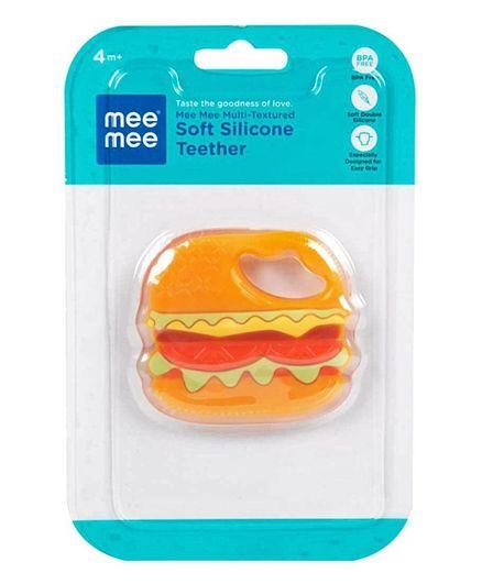 Mee Mee Multi Textured Soft Silicone Teether Burger Shaped - Orange - Pintoo Garments