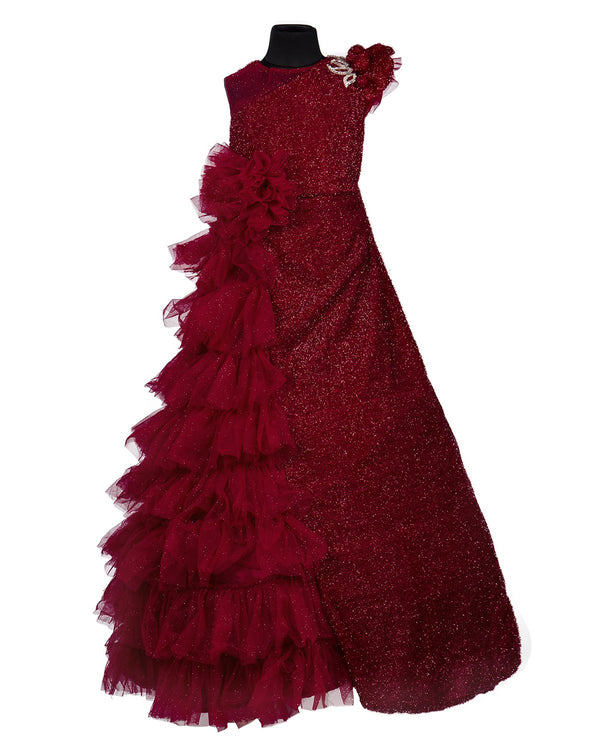 Girls Party Gown Maroon 3014