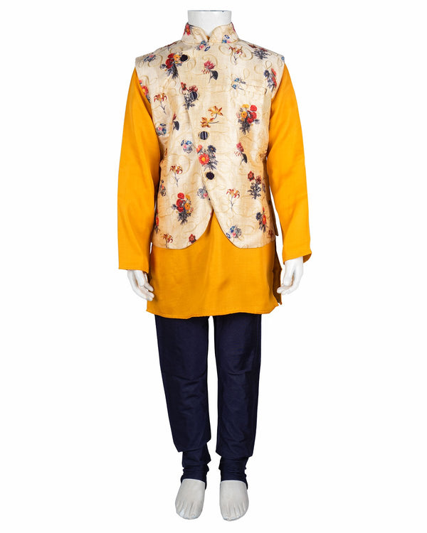Boys Heavy Koti Kurta Suit Yellow