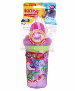 Nuby Click It No Spill Flip It Straw Cup - 270 Ml - Pintoo Garments