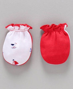 Printed Mittens & Booties Pack of 2 Bird Print - White Red