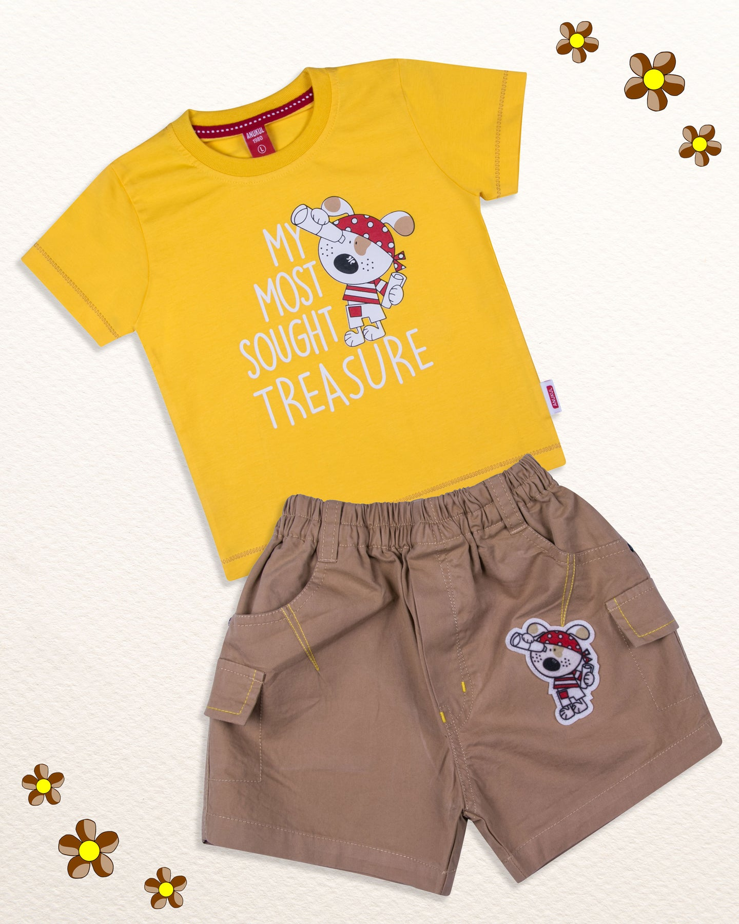 Boys Solid Printed Yellow Baba Suit