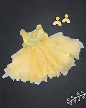Load image into Gallery viewer, Girls Sequins Flared Yellow Party Frock