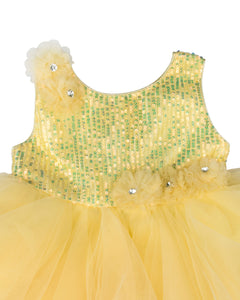 Girls Sequins Flared Yellow Party Frock