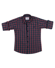 Load image into Gallery viewer, Boys Fashion Navy Blue Checks Shirt